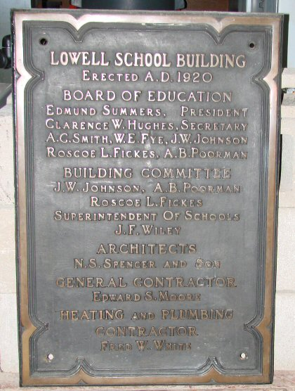 Mattoon, Illinois Lowell School Plaque