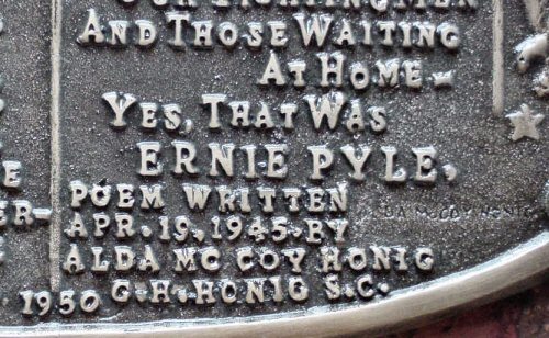 Ernie Pyle Plaque Showing Alda and George Honig's Names